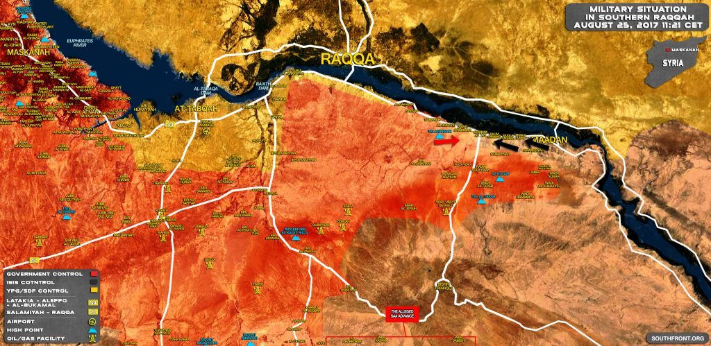 Military Situation In Southern Raqqah On August 25, 2017 (Map Update)