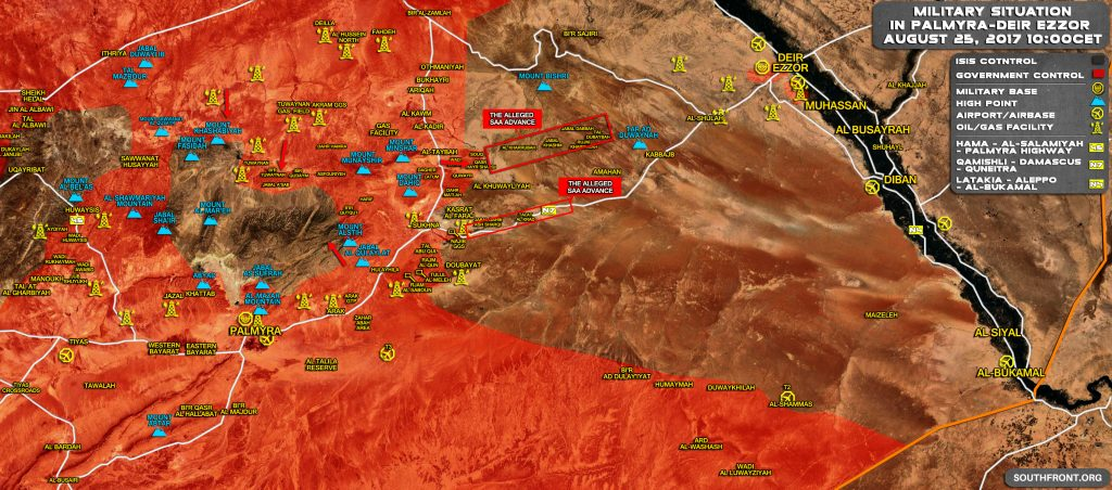 Military Situation In Central Syria On August 25, 2017 (Map Update)