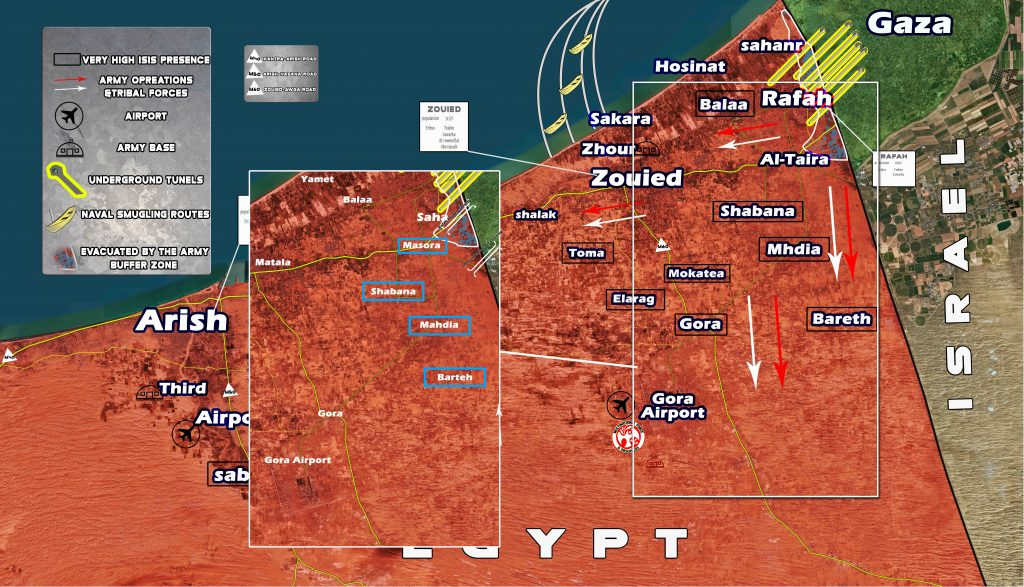 Security Forces Operations Against Militants In Central Egypt And In Northern Sinai (Map)