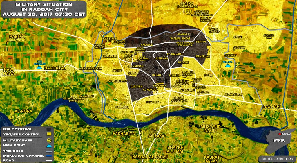 Military Situation In Syrian City Of Raqqah On August 30, 2017 (Map Update)