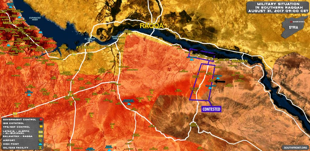 Military Situation In Southern Raqqah On August 31, 2017 (Map Update)