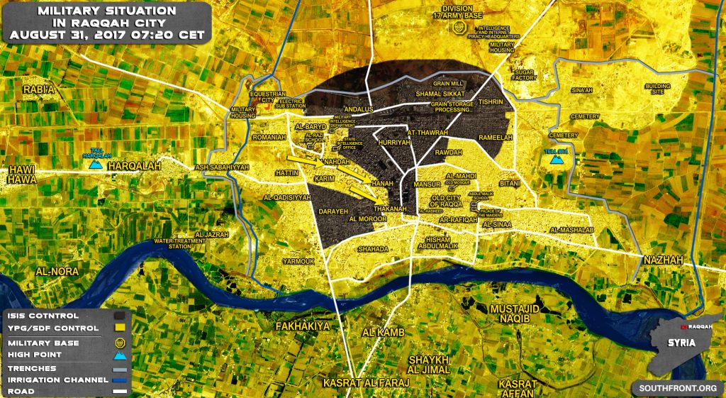Military Situation In Syrian City Of Raqqah On August 31, 2017 (Map Update)