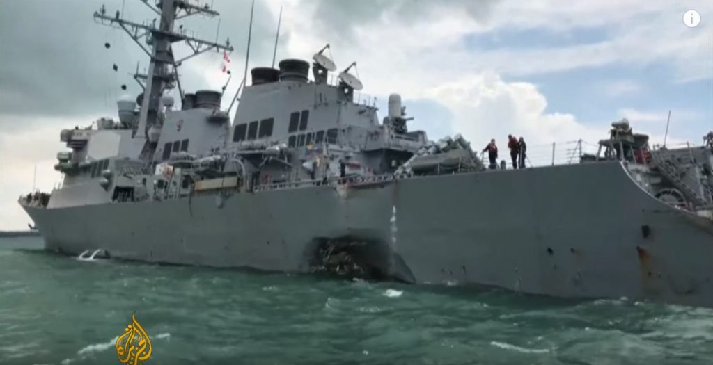 Ten US Sailors Missing After USS John McCain Collision Off Singapore (Videos)
