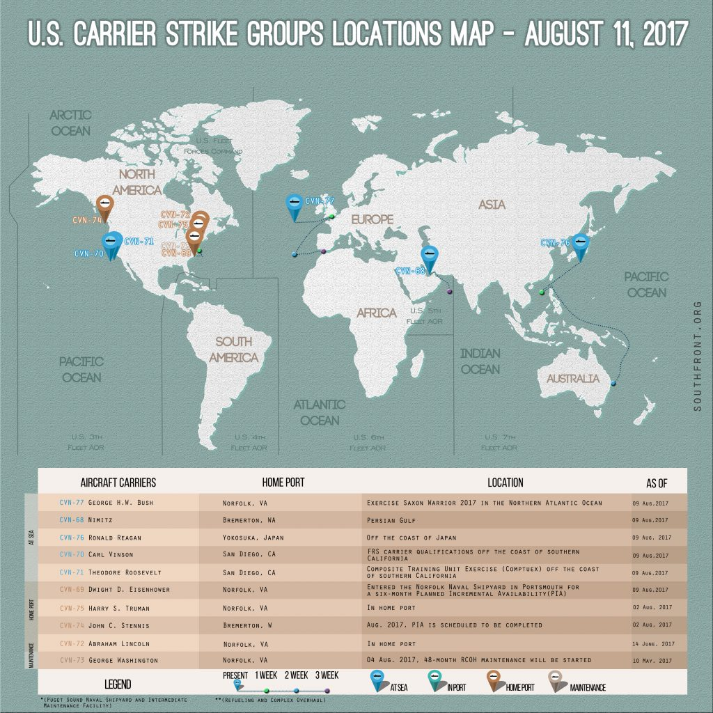 US Carrier Strike Groups Locations Map – August 11, 2017