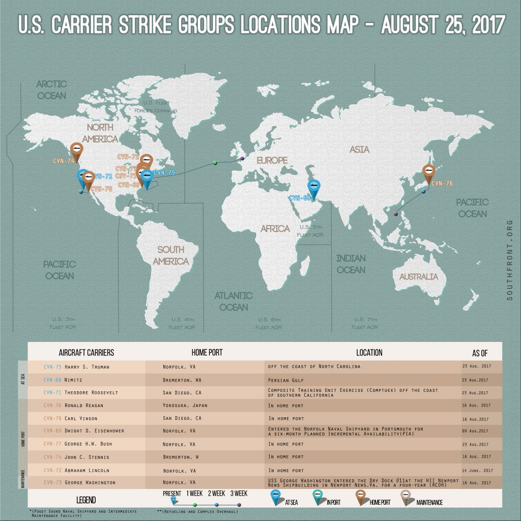 US Carrier Strike Groups Locations Map – August 25, 2017