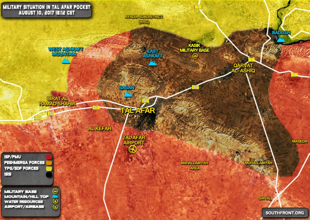 Military Situation In Tal Afar Pocket On August 10, 2017 (Map Update)