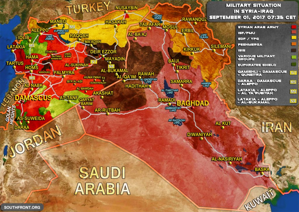 Military Situation In Syria and Iraq On September 1, 2017 (Map Update)