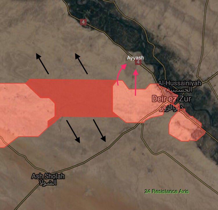 Syrian Army Developing Momentum In Direction Of Ayyash Village Northwest Of Deir Ezzor City (Map)