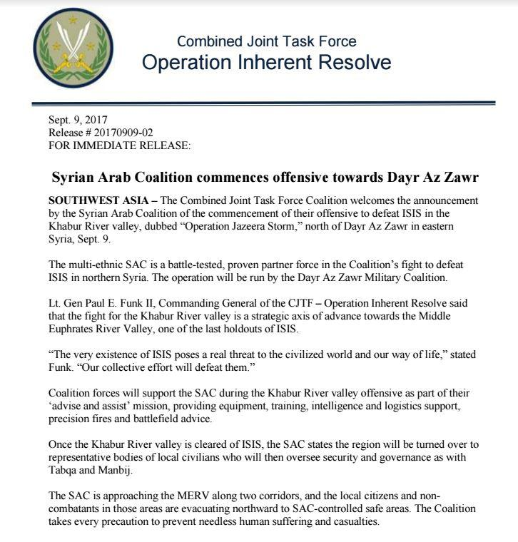 US-Led Coalition 'Will Not Allow' Syrian Army To Cross Euphrates River In Deir Ezzor - Reports