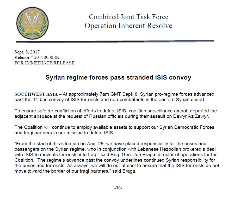 US-Led Coalition Stops Monitoring Stranded ISIS Convoy