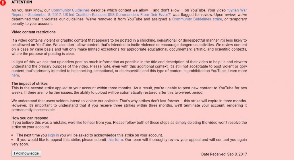 Important Message: SouthFront Is Censored On Youtube