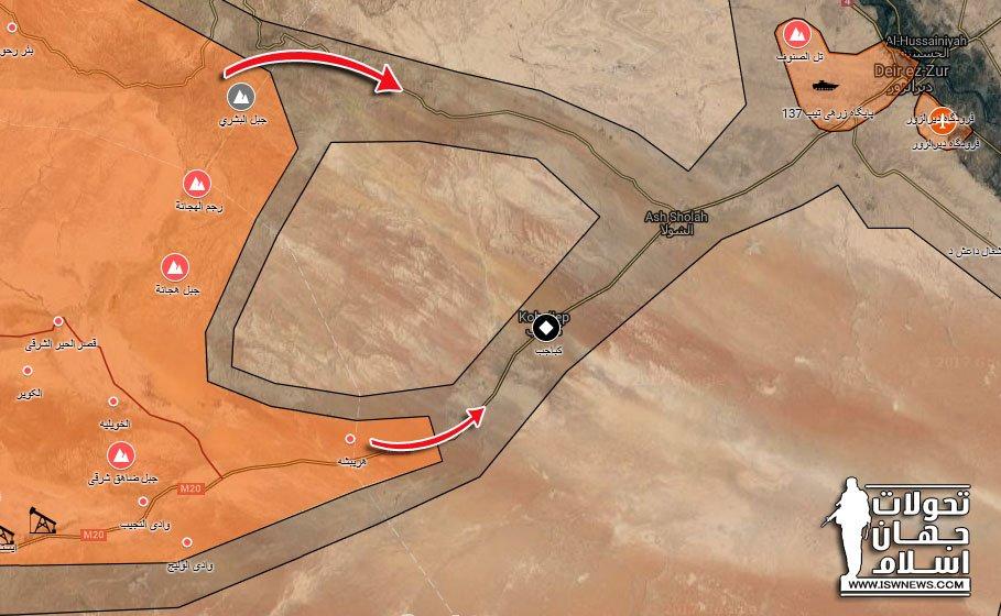 シリア軍はアウェイデリゾール市から約30キロでです