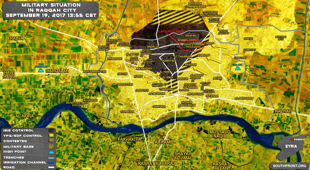SDF Seized Grain Storage From ISIS In Raqqah, Claims 80% Of City Is Liberated (Map)