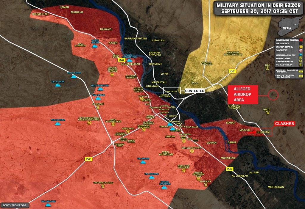 Government Troops Airdrop On Conoco Gas Plant Inside ISIS-held Part Of Deir Ezzor Province - Unconfirmed