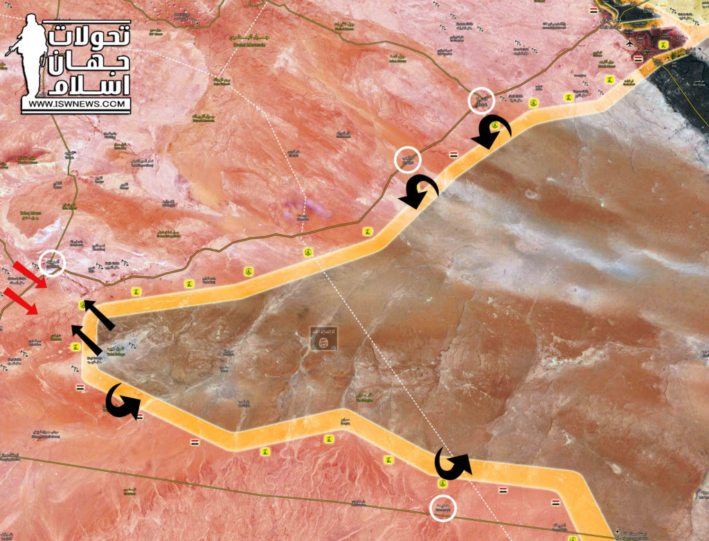 Military Situation In Central Syria After Army Repelled ISIS Attack On Palmyra-Deir Ezzor Highway (Map)