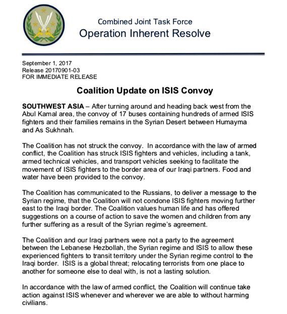 US-Led Collation Destroyed 40 Vehicles That Tried To Approach Convoy Of Evacuated ISIS Fighters