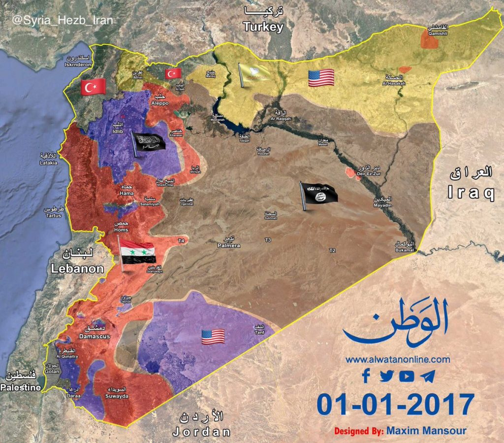 Map Comparison: Military Situation In Syria - January 1, 2017 Vs September 5, 2017
