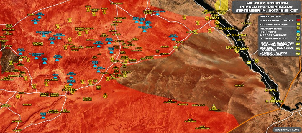 Military Situation In Central Syria On September 14, 2017 (Map Update)