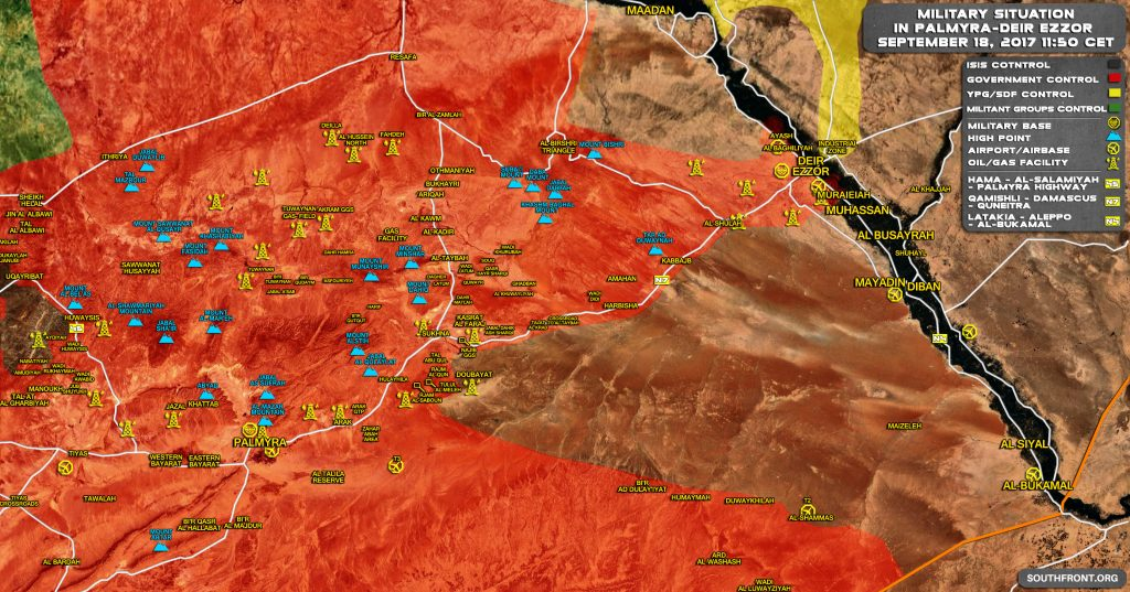 Military Situation In Central Syria On September 18, 2017 (Map Update)