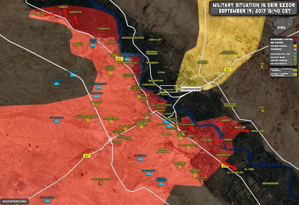 Overview Of Battle For Deir Ezzor On September 19, 2017 (Maps, Video)