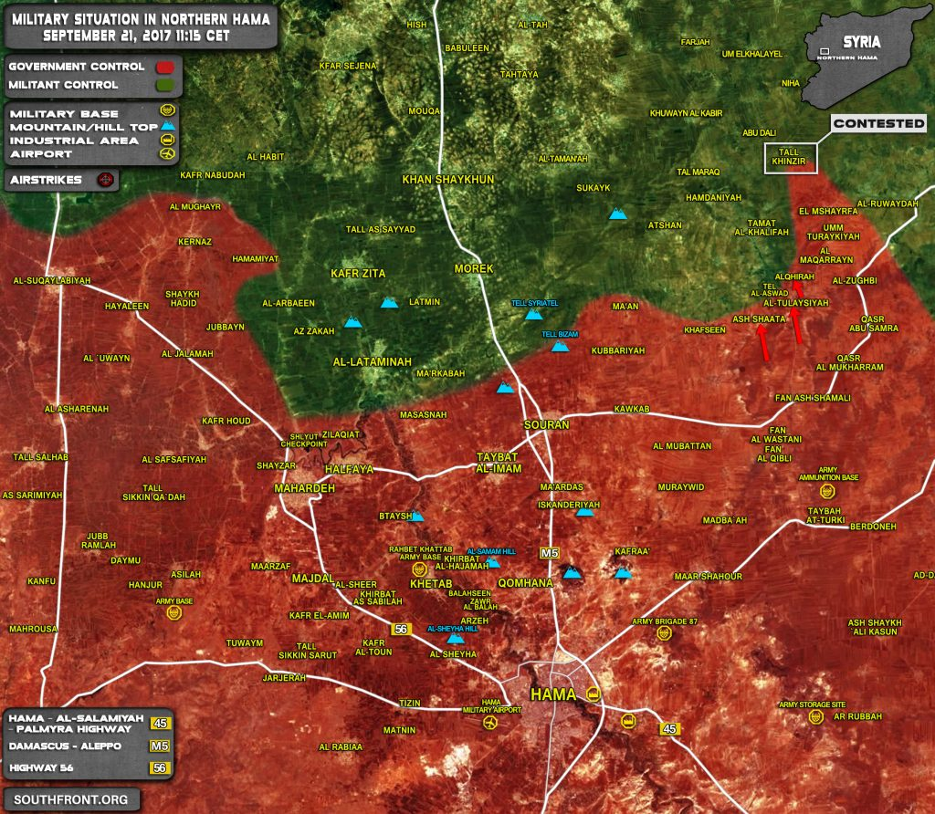 Military Situation In Northern Hama After Failed Al-Qaeda Attack Against Syrian Government Forces (Map)