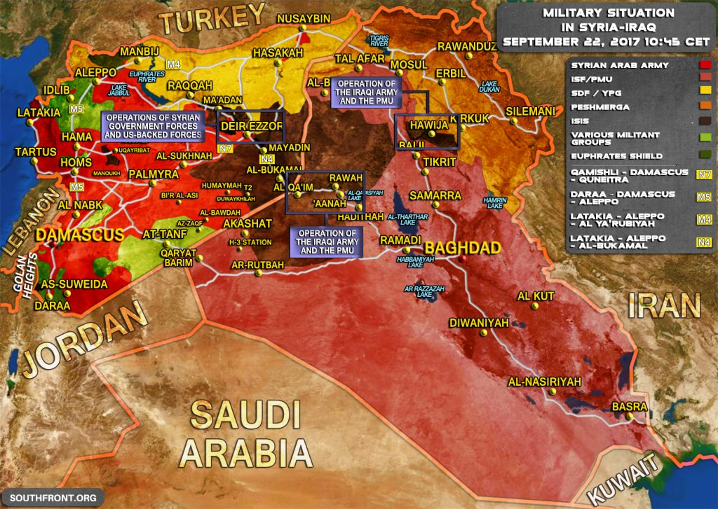 Military Situation In Syria And Iraq As ISIS Crumbles Under Pressure On Multiple Frontlines (Map)
