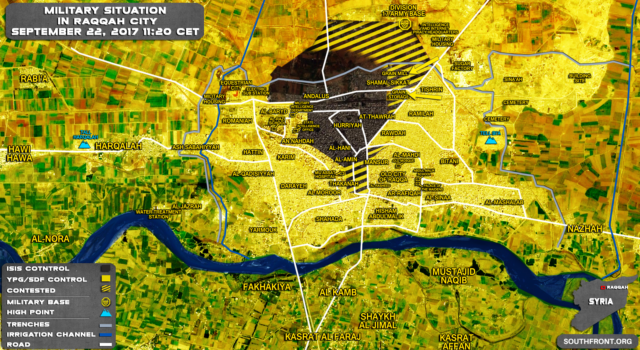 Us Backed Sdf Advances On Grain Mill In Syria S Raqqah City Map