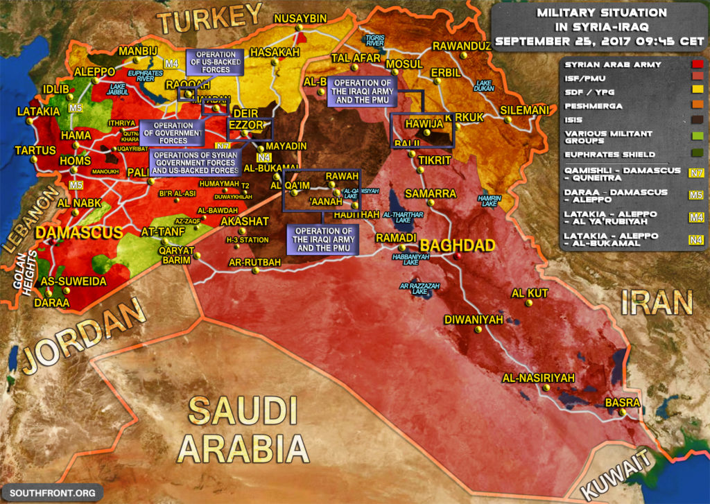 Military Situation In Syria And Iraq On September 25, 2017 (Map Update)