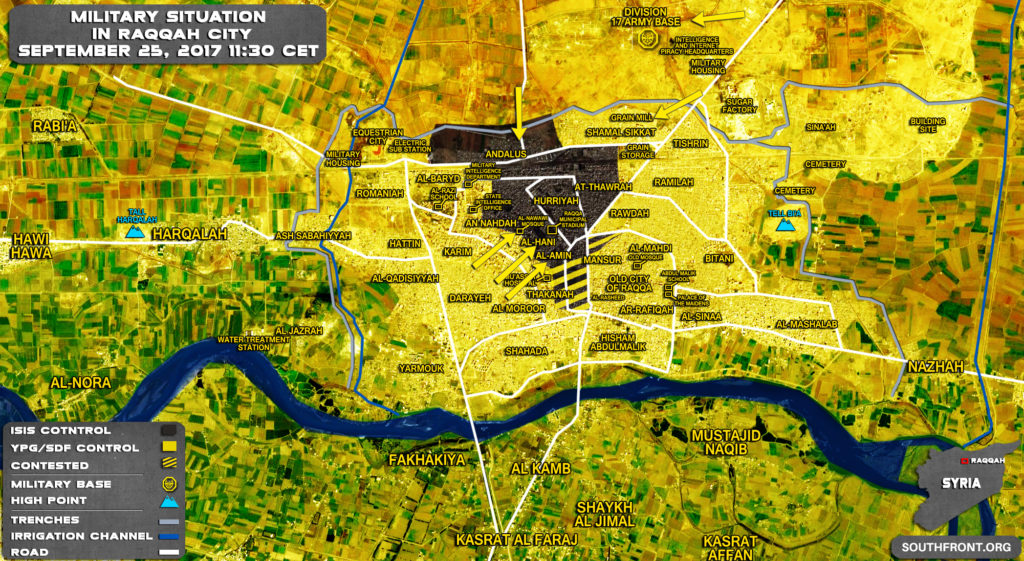 Military Situation In Syria's Raqqah City On September 25, 2017 (Map Update)