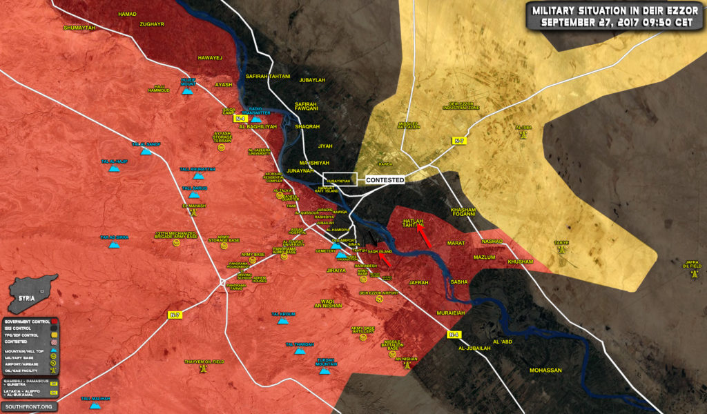 Military Situation In Deir Ezzor City After Recent Advances Of Syrian Army (MaP