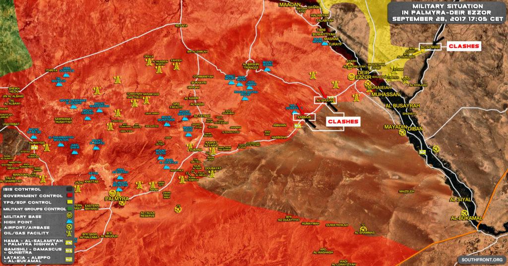 Overview Of Battle For Deir Ezzor On September 28, 2017 (Map)