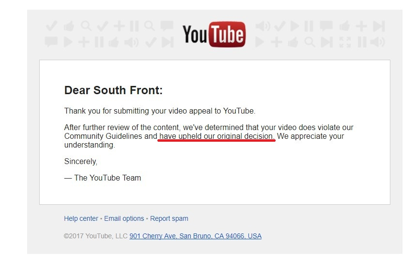 YouTube Rejects Appeal, Holds 'Original Decision' To Censor SouthFront's Channel