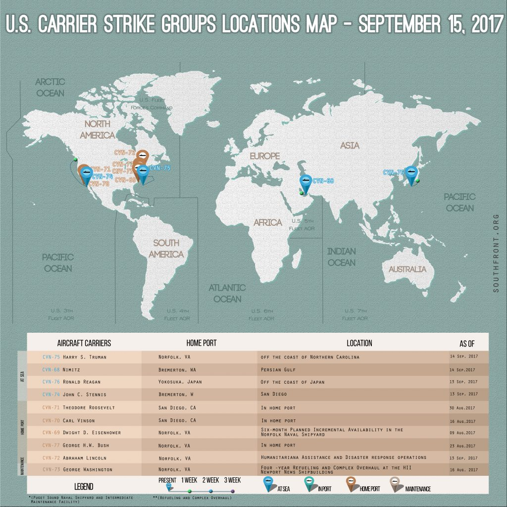 US Carrier Strike Groups Locations Map – September 15, 2017