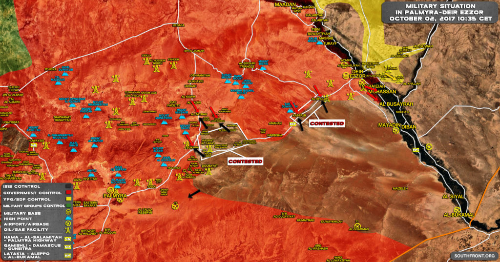 Overview Of Battle For Deir Ezzor On October 3, 2017 (Map)