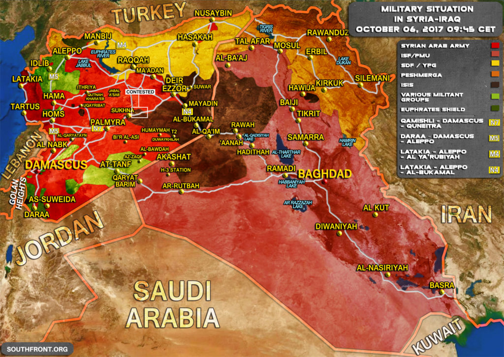 Military Situation In Syria And Iraq On October 6, 2017 (Map)