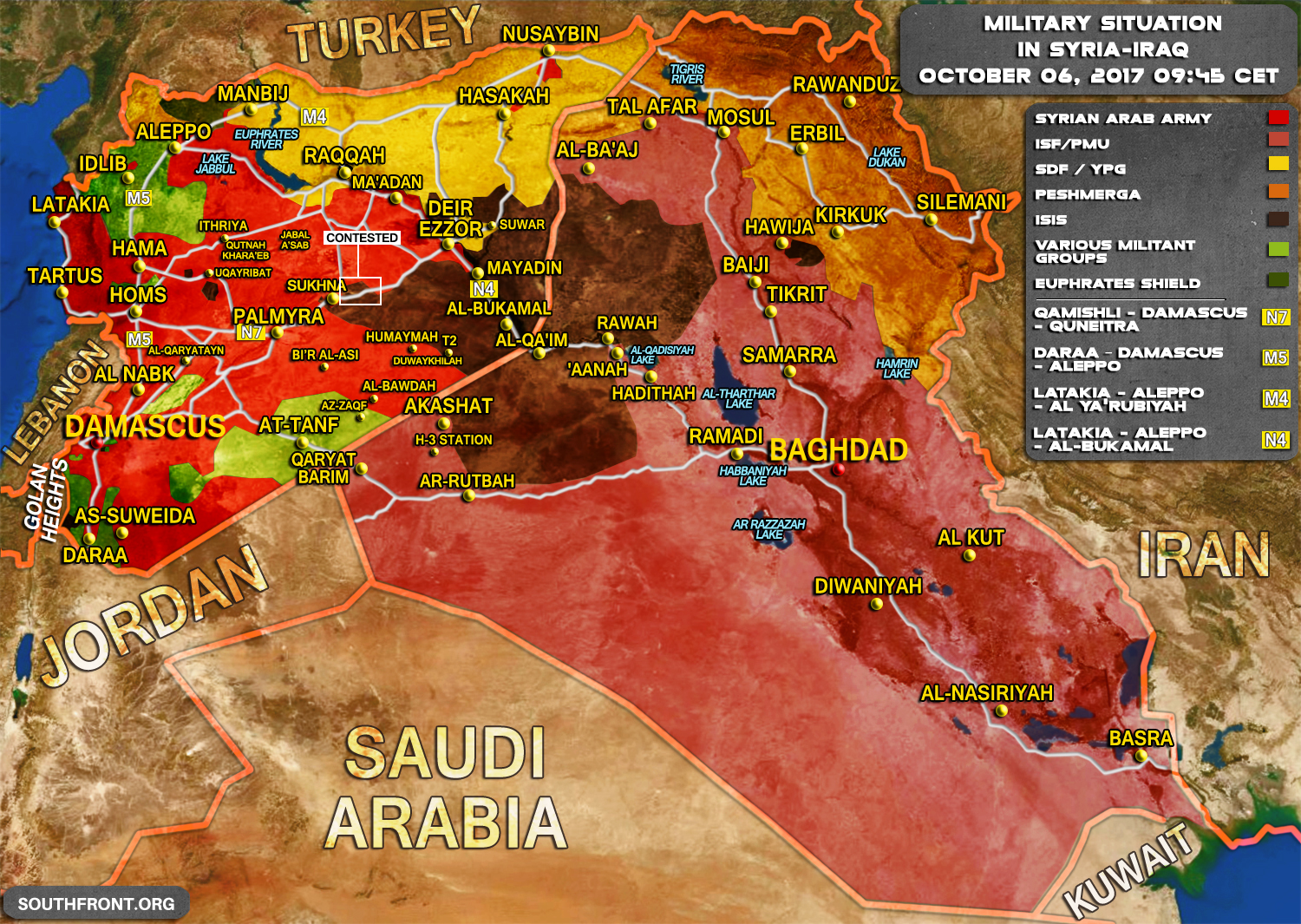 Situation In Syria And Iraq On October Map - Map of iraq