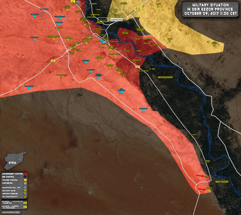 Military Situation In Area Of Deir Ezzor On October 9, 2017 (Syria Map Update)