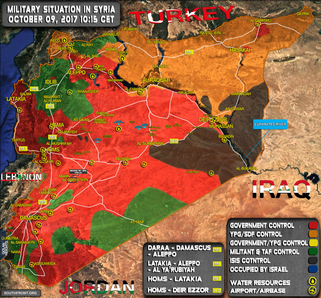 Military Situation In Syria On October 9, 2017 (Map Update)