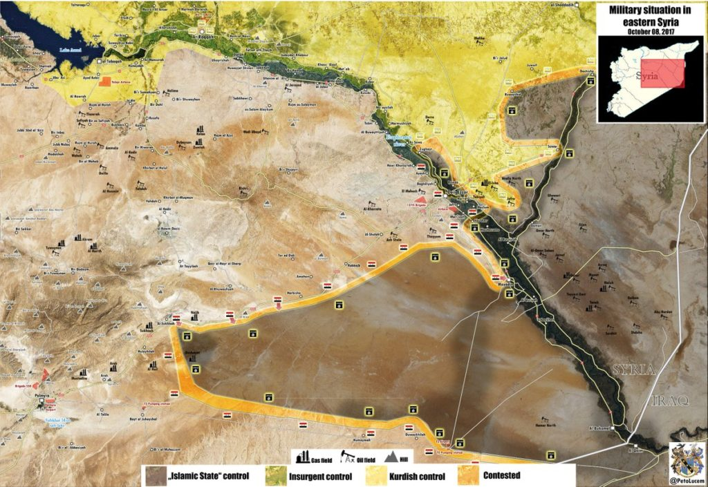 Map: Military Situation In Central Syria After Government Forces Restored Control Over Palmyra-Deir Ezzor Highway