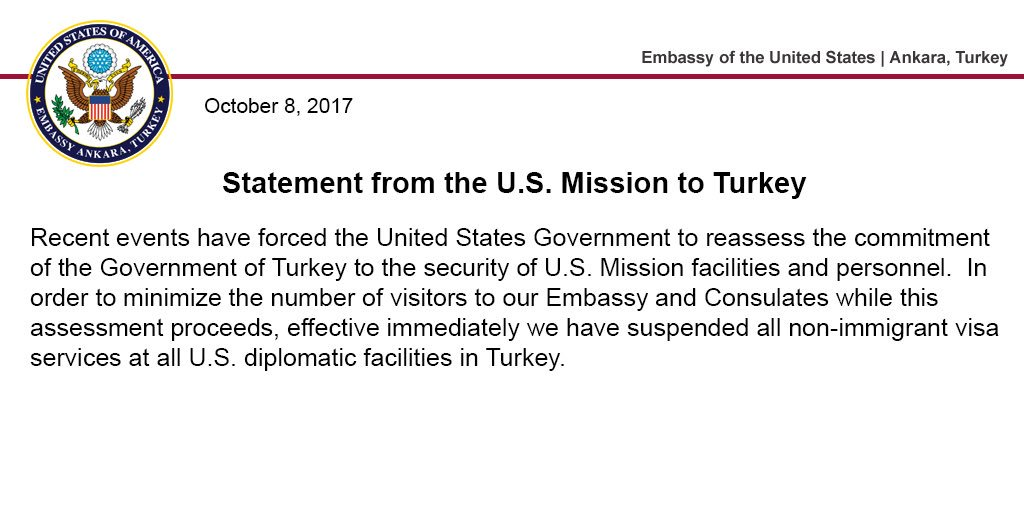 US Reacts To Ankara's Idlib Operation: Restores Supplies To Al-Qaeda-Affiliated Groups, Suspends All Non-Immigrant Visa Services In Turkey