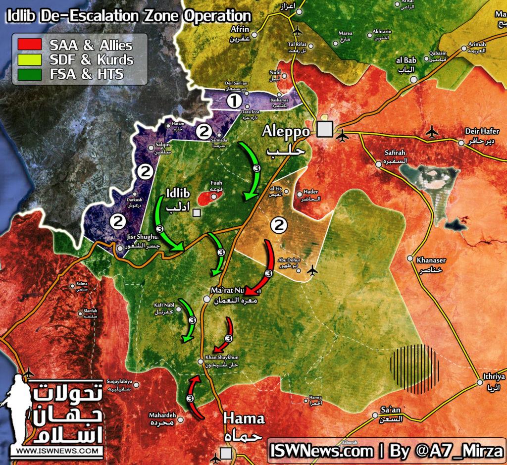 "Map Update: Possible Scenario Of ""De-Escalation Zone"" Operation In Syria's Idlib Province"