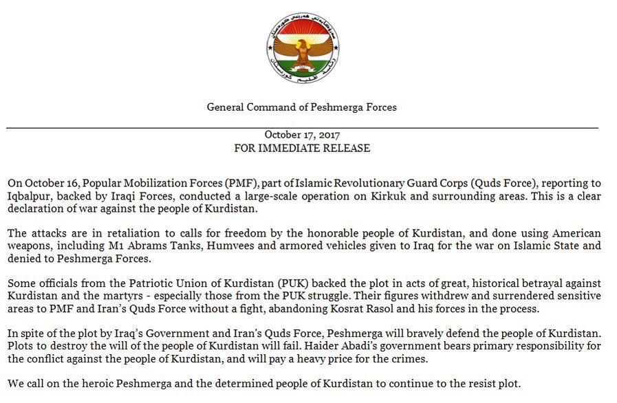 """La coalizione guidata dagli Stati Uniti rifiuta KRG afferma che il """"Corpo rivoluzionario rivoluzionario iraniano"""" ha promosso il governo iracheno in Kirkuk"""