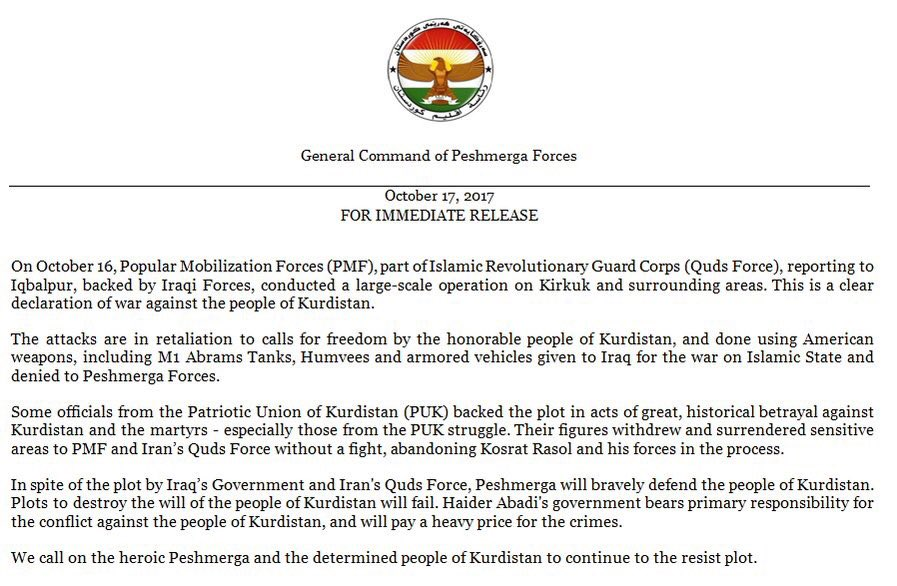 "US-led Coalition Rejects KRG Claims That ""Iranian Revolutionary Guard Corps"" Spearheaded Iraqi Government Advannce In Kirkuk Area"