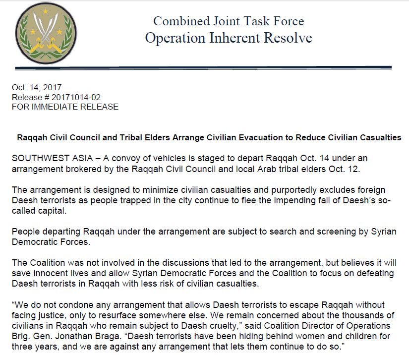 US-Led Coalition Confirms: Syrian Democratic Forces Reached Deal With ISIS In Raqqa City