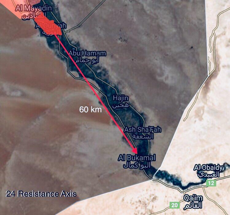 Maps: Syrian Army Advances From Mayadin Towards ISIS Border Stronghold Of Al-Bukamal