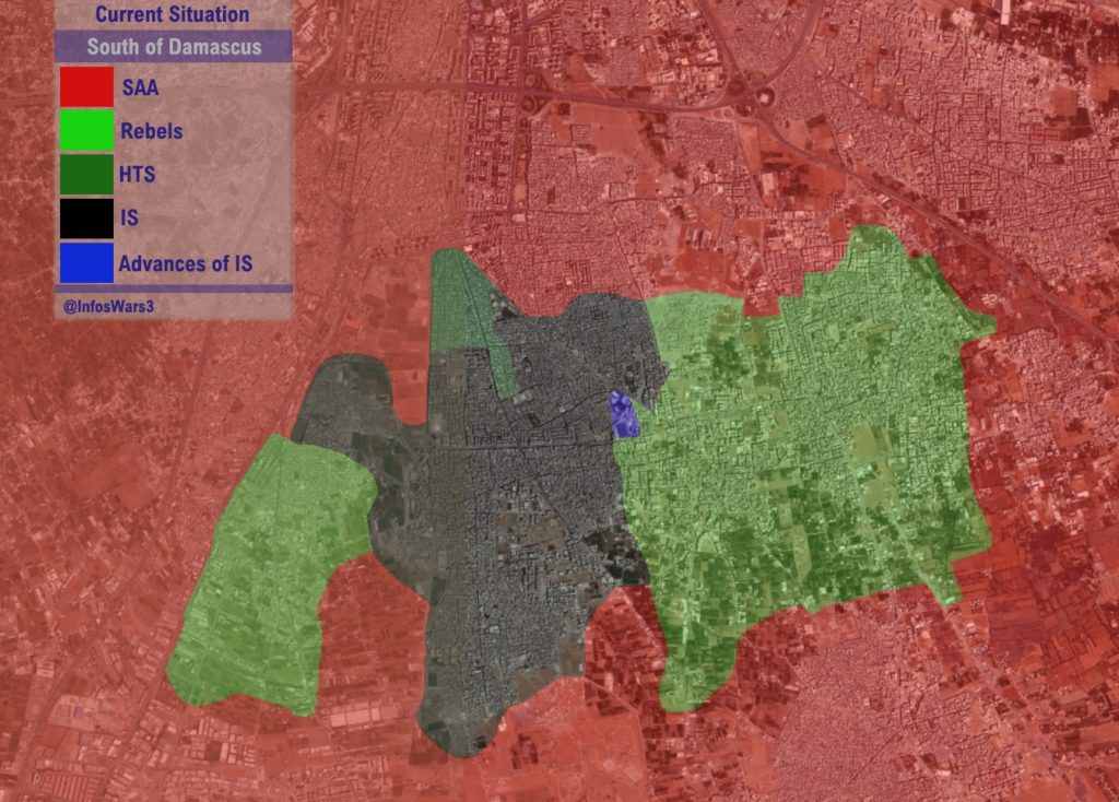 Map Update: Military Situation South Of Damascus After Recent Advances Of ISIS Against Local Rebels