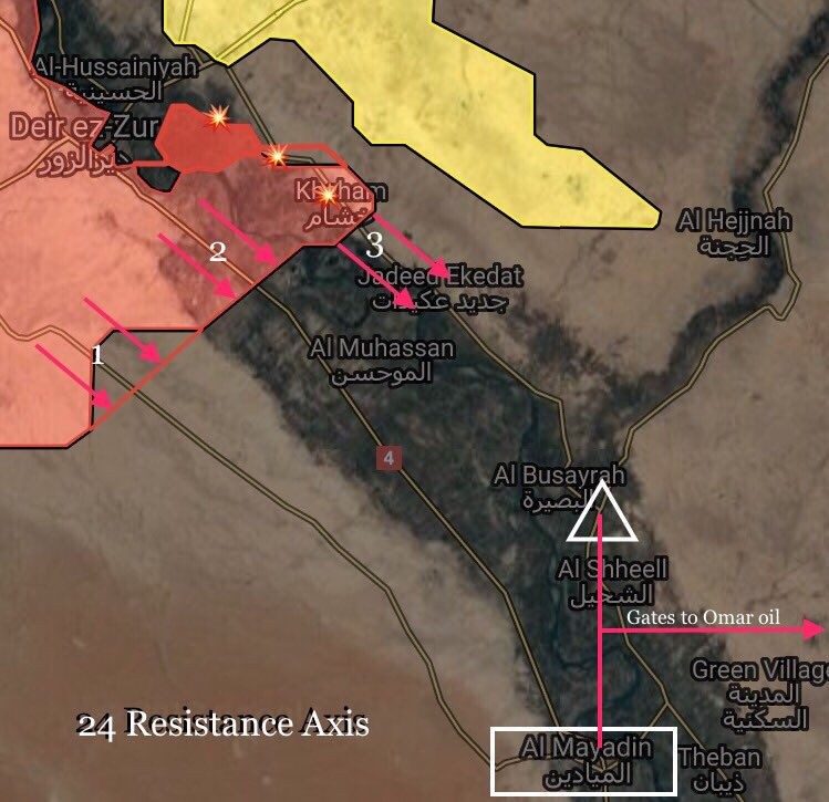 Syrian Army Pushing Towards Mayadin On Both Banks Of Euphrates (Map)