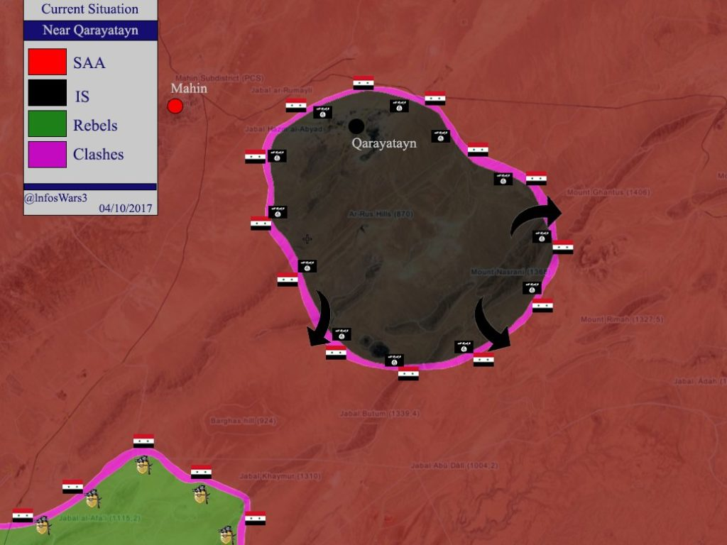 Map Update: Military Situation In al-Qaryatayn Area Sezied By ISIS Sleeper Cells
