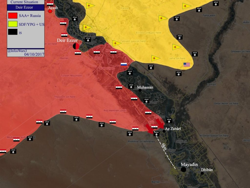 Government Forces Deploy In Striking Distance From Key ISIS-held Town Of Mayadin On Western Bank Of Euphrates (Map)