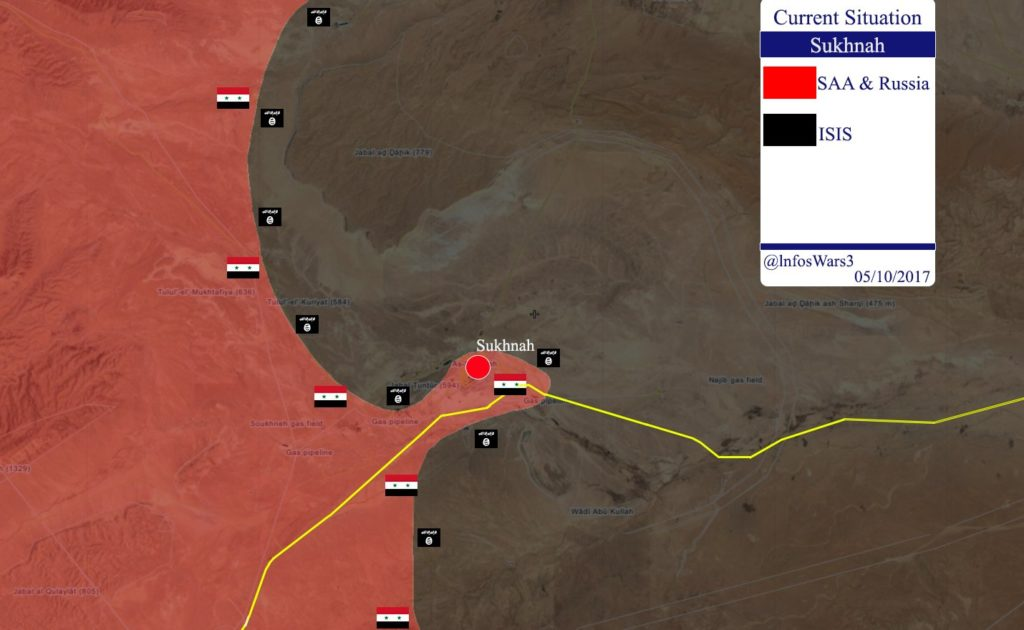 Map Update: Military Situation In Sukhna Area At Palmyra-Deir Ezzor Highway